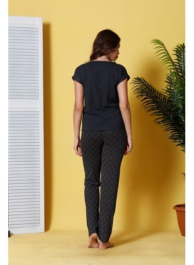 Siyah İnci Pijama Takım Renkli